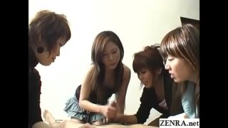 <strong>CFNM handjob</strong> with cumshot by group of Japanese women