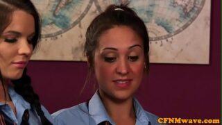 <strong>CFNM</strong> schoolgirls teaching a <strong>handjob</strong> lesson