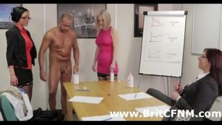 Cute british CFNM babes test skin lotion on guys cock