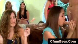 Party amateur girls suck CFNM stripper cock in <strong>public</strong>