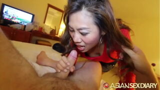 Cute Asian MILF sucks off white cock and takes it up her skirt
